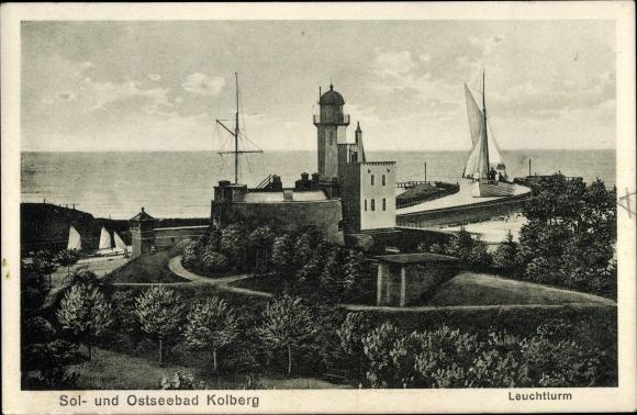 Ak Kołobrzeg Kolberg Pommern, Leuchtturm, Segelschiff 0