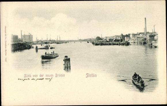 Ak Szczecin Stettin Pommern, Blick von der neuen Brücke, Ruderboot 0
