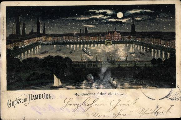 Mondschein Ak Hamburg Mitte Altstadt, Mondnacht auf der Alster 0