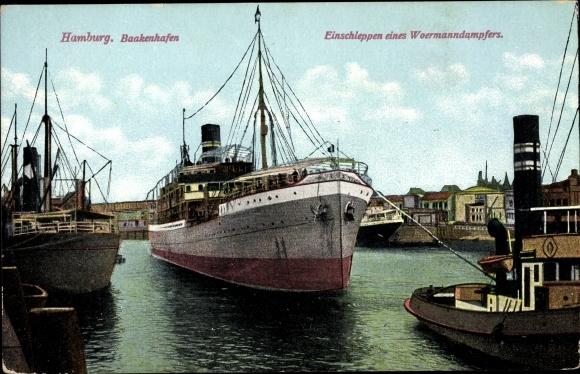 Ak Hamburg Mitte Altstadt, Baakenhafen, Einschleppen eines Woermann Dampfers 0