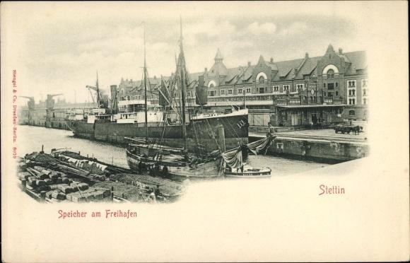 Ak Szczecin Stettin Pommern, Speicher am Freihafen 0