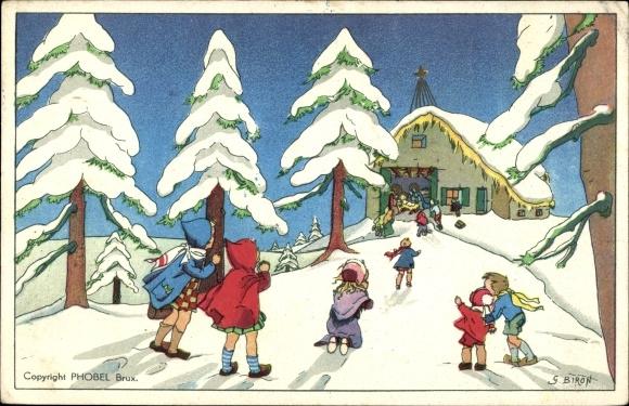 Ak Frohe Weihnachten, Tannenbaum, Krippe in einer Winterlandschaft 0