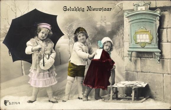 Ak Glückwunsch Neujahr, Gelukkig Nieuwjaar, Kinder, Briefkasten 0