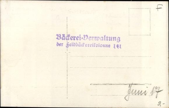 Foto Ak Bäckerei Veraltung der Feldbäckereikolonne 141, Juni 1917 1