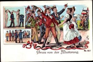 Studentika Litho Musterung im Kaiserreich, Studenten, Appell