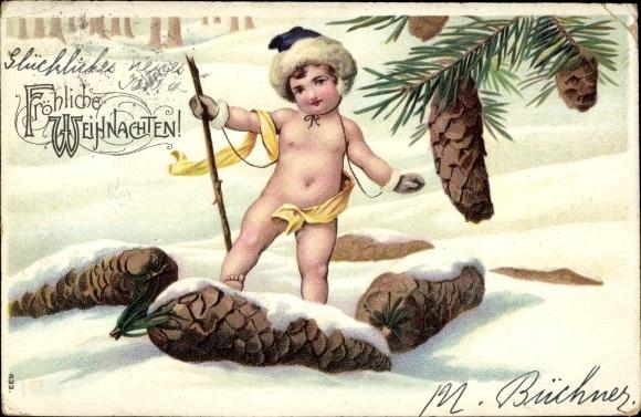 Ak Glückwunsch Weihnachten, Kind, Tannenzapfen 0