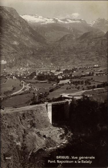 Ak Brigue Brig Glis Kt Wallis Schweiz, Pont Napoleon & la Belalp 0