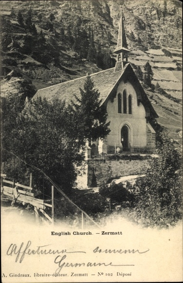 Ak Zermatt Kanton Wallis Schweiz, English Church 0