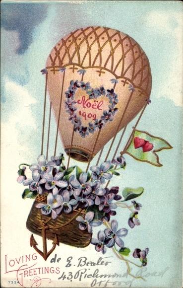 Präge Ak Glückwunsch Weihnachten, Heißluftballon, Vergissmeinnicht 0