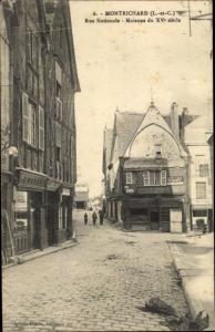 Ak Montrichard Loir et Cher, Rue Nationale, Maisons du XVe Siècle