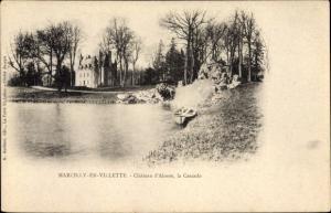 APassepartout Ak Marcilly-en-Villette Loiret, Chateau d´Alosse, la Cascade