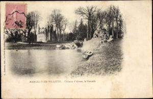 Passepartout Ak Marcilly-en-Villette Loiret, Chateau d´Alosse, la Cascade