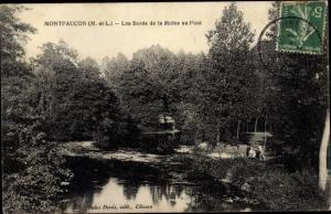 Ak Montfaucon sur Moine Maine et Loire, Les Bords de la Moine au Pont