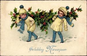 Ak Glückwunsch Neujahr, Gelukkig Nieuwjaar, Kinder mit Stechpalme
