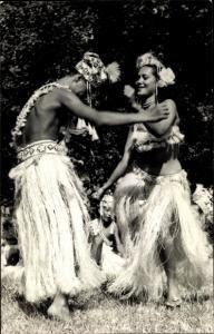 Ak Tahiti Ozeanien, tanzende Ureinwohner