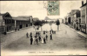 Ak Corbeil Essonne, Place du Marché