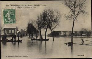 Ak Corbeil Essonne, Les Inondations de la Seine, Janvier 1910, Champ de Foire