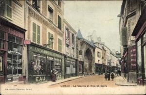 Ak Corbeil Essonne, Cloître et Rue Saint Spire