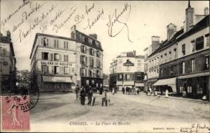 Ak Corbeil Essonne, La Place du Marché
