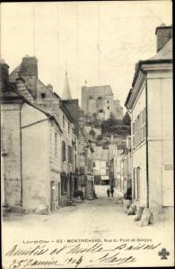 Ak Montrichard Loir et Cher, Rue du Pont et Donjon
