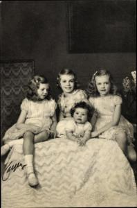 Ak Prinzessinnen Margaretha, Brigitta, Desirée und Christina von Schweden, Portrait