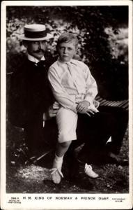 Ak König Haakon VII von Norwegen, Prinz Olav, Portrait