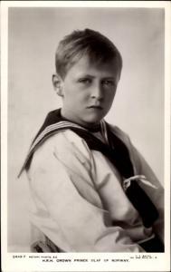 Ak Kronprinz Olav von Norwegen, Olav V, Portrait