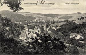 Ak Schwarzenberg im Erzgebirge Sachsen, Ort vom Totenstein gesehen