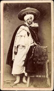 CdV Algerien, Mann in Maghreb Tracht, Portrait um 1880
