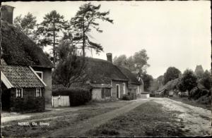 Ak Norg Drenthe, De Steeg, Häuser mit Reetdächern