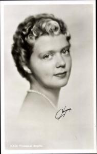 Ak Prinzessin Birgitta von Schweden, Portrait, 1955