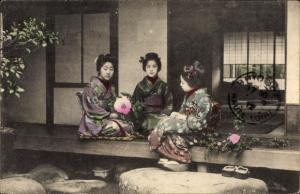 Ak Japan, Mädchen in Kimono, Geishas