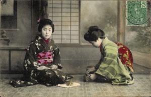 Ak Japan, Mädchen, Kimono, Geisha