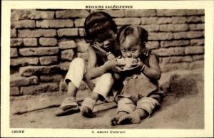 Ak Chine, amour fraternel, brüderliche Liebe, Missions Salésiennes