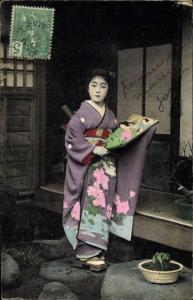 Ak Japanische Geisha im Kimono
