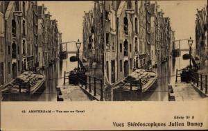 Stereo Ak Amsterdam Nordholland Niederlande, Vue sur un Canal
