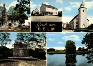 Ak Belm Kreis Osnabrück, Kirche, Geschäft, Denkmal, Seepartie