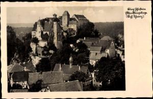 Ak Ehrenberg Hohnstein Sächsische Schweiz, Totalansicht, im Elbsandsteingebirge