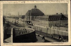Ak Dortmund im Ruhrgebiet, Hauptbahnhof, Gesamtansicht, Straßenbahnen
