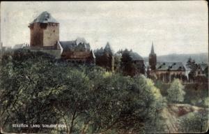 Ak Schloss Burg Solingen in Nordrhein Westfalen, Teilansicht vom Ort, Bergfried, Kirchturm
