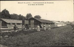 Ak Milly la Forêt Essonne, Cantonnement de Zouaves à la Gare de Corbeil