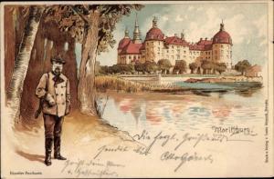 Litho Moritzburg Sachsen, König Albert von Sachsen als Jäger