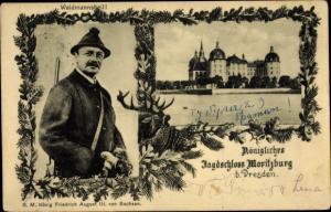 Ak Moritzburg Sachsen, Königliches Jagdschloss, König Friedrich August III. von Sachsen als Jäger