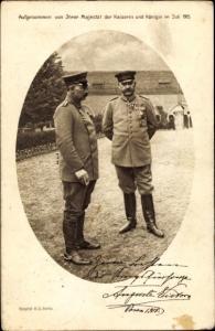 Ak Poznań Posen, Kaiser Wilhelm II. mit Generalfeldmarschall Paul von Hindenburg, Juli 1915