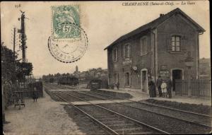 Ak Champagne sur Oise Val d´Oise, La Gare