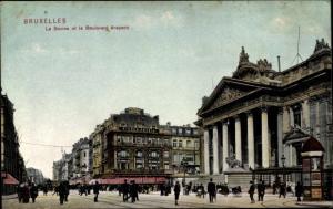 Ak Bruxelles Brüssel, La Bourse, Boulevard Anspach