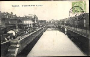Ak Tournai Wallonien Hennegau, L'Escaut , le marche