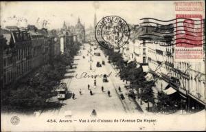 Ak Antwerpen Anvers Flandern, Vue a vol d'oiseau de l'Avenue De Keyser