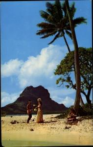 Ak Bora Bora Französisch Polynesien, Strand, tanzende Ureinwohner
