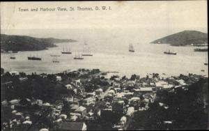 Postcard SSaint Thomas Amerikanische Jungferninseln, Town and Harbour